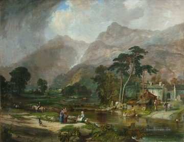 Landschaft Werke - Borrowdale Samuel Bough Flusslandschaft